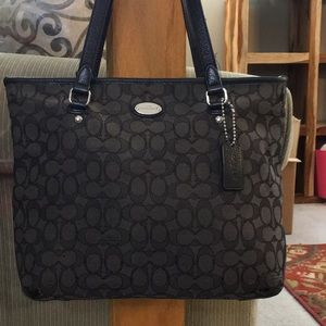 💕 Coach great black fabric leather tote cute 💕